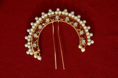 Traditional Maharashtrian Pearl Veni. Hair accessory... Goes best with a hair bun
