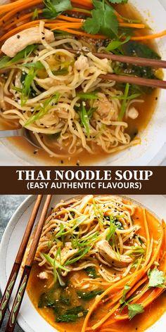 Soup Recipes, Chicken Recipes, Vegetarian Recipes, Cooking Recipes, Healthy Recipes, Vegetarian Noodle Soup, Thai Noodle Soups, Thai Noodles, Thai Chicken Soups
