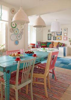 tavolo shabby sedie colorate - Cerca con Google