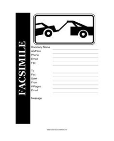 This Printable Fax Cover Sheet Pictures A Car And Is Great For