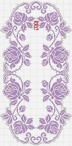 Crochet Bedspread Pattern, Crochet Edging Patterns, Filet Crochet Charts, Crochet Curtains, Crochet Borders, Crochet Squares, Cross Stitch Rose, Cross Stitch Flowers, Cross Stitch Embroidery