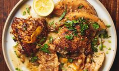 Ottolenghi slow-cooked chicken recipes, inclu: Yotam Ottolenghi's very slow-braised chicken with celeriac and lemon. Cooked Chicken Recipes, Slow Cooked Meals, How To Cook Chicken, Slow Cooker Recipes, Meat Recipes, Cooking Recipes, Healthy Recipes, Recipies, Chicken Meals