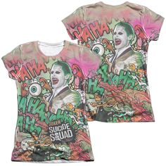 Suicide Squad - Joker Psychedelic Cartoon Junior All Over Print Poly-Cotton T-Shirt