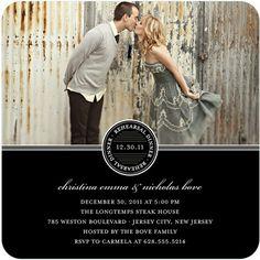 64698cbd08ac Sealed Squares - Signature White Rehearsal Dinner Invitations - Jenny  Romanski - Black   Front Bridal
