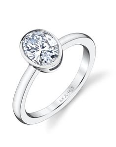 Modern Bezel Set Diamond Solitaire Engagement Ring; Shown with One Carat Oval Cut; Center Stone excluded from Price.