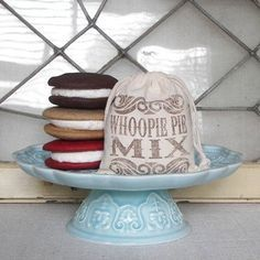 whoopie pie mix in a stamped muslin bag - Edible Favors, Edible Wedding Favors, Unique Wedding Favors, Bridal Shower Favors, Rustic Wedding, Party Favors, Wedding Ideas, Whoppie Pies, Cupcake Mix