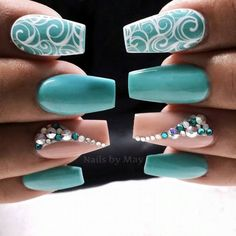 Wow get nails, how to do nails, turquoise nail designs, nails turquoise, te Teal Nail Art, Teal Nails, Fancy Nails, Bling Nails, Cute Nails, Pretty Nails, Nails Turquoise, Turquoise Nail Designs, Wow Nails