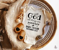 Our Baby Bodysuits make the perfect pregnancy announcement! Cute baby announcement ideas for grandparents and the sweetest pregnancy announcement to husband. Perfect to announce your rainbow baby on an unforgettable IVF pregnancy announcement. Make it unique as a custom baby announcement onesie. This sweet baby bodysuit is for a mama who knows her little miracle was Heaven sent by the powerful Hands of our God! We designed this precious baby piece specially for you, Mama, who prayed and prayed k Baby Announcement Grandparents, Rainbow Baby Announcement, Cute Baby Announcements, Baby Announcement Pictures, Pregnancy Announcement To Husband, Announcement Cards, Ivf Pregnancy, Pregnancy Must Haves, Western Babies