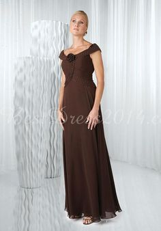 Chiffon A-line Off-shoulder Short Sleeve Natural Waist Mother Of The Bride Dresses With Beading & Flower