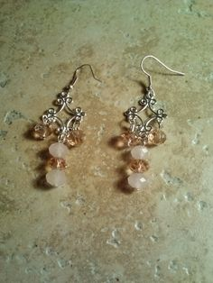 Pink Crystal Beads and Silvertone Chandelier Earrings! by TrendyCharm on Etsy