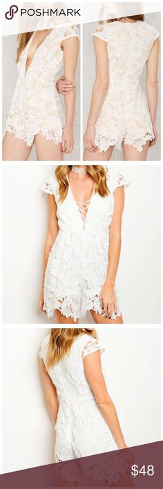 """Solid White Lace Romper Available in sizes small, medium & large. Was sold at Nasty Gal! Boutique brand. Would be beautiful for Valentine's Day!  • Lattice V-neck Front • Delicate Lace • Cap Sleeves • Cotton/Polyester  Model is wearing a size small.   L: 31"""" B: 36"""" W: 28""""  *Model shown wearing the exact product.  If you have any questions, feel free to ask! 💕 Nasty Gal Pants Jumpsuits & Rompers"""