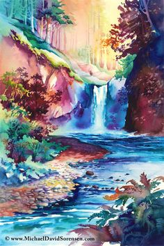 """Sunlit Falls"" - Watercolor art by Michael David Sorensen. http://www.facebook.com/michaeldavidsorensen"