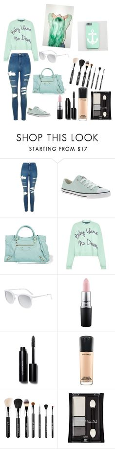 """""""Mint"""" by myahcuteoutfits ❤ liked on Polyvore featuring Topshop, Converse, Balenciaga, House of Holland, Smoke x Mirrors, MAC Cosmetics, Bobbi Brown Cosmetics and Maybelline"""
