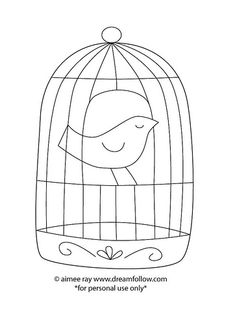 birdcage Originally uploaded by merwing✿little dear need a weekend project? how about a free embroidery pattern? Bird Embroidery, Embroidery Patterns Free, Vintage Embroidery, Cross Stitch Embroidery, Road Trip Crafts, Wool Applique, Embroidery Techniques, Bird Cage, Retro Vintage