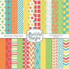 Digital Paper Pack  - Personal and Commercial Use - Beach Party. $3.74, via Etsy.
