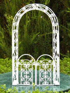 Miniature Dollhouse FAIRY GARDEN Furniture ~ White Wire Arbor with Gate ~ NEW