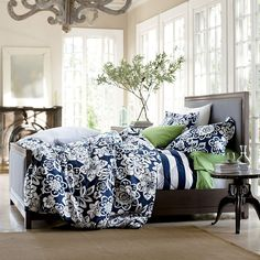 Navy, green bedding