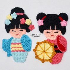 Ravelry: Kokeshi Japanese Doll Applique pattern by Little Bamboo Handmade Crochet Applique Patterns Free, Cat Applique, Crochet Doll Pattern, Crochet Dolls, Kokeshi Dolls, Crochet Hook Sizes, Yarn Crafts, Crochet Flowers, Japanese Doll