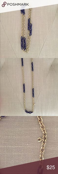 "J. Crew Gold & Navy Chain Necklace J. Crew Gold & Navy Chain Necklace. Length is 16.5"""" J. Crew Jewelry Necklaces"