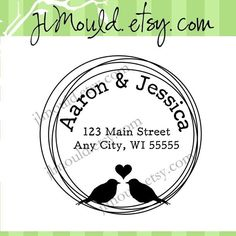 Love Birds Modern Circle Bird Wedding DIY Address Rubber Stamp this design is perfect for DIY brides, baby showers, or anything. We can customize the text. jlmould-etsy-com-custom-stamps