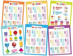 6 Math Educational Posters for Kids - Laminated - Includes Fractions, Multiplication, Division, Subtraction, Addition and Geometry - Sizes Kids Learning Activities, Home Learning, Educational Websites, Educational Technology, Math Fractions, Multiplication, Basic Math, Classroom Language, Education Quotes For Teachers