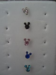 Free ship: 5 Mickey Mouse Nose studs in white, black, pink, blue, and teal $5.99