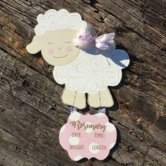 Little Lamb / Sheep / Hospital Door Hanger / Baby Girl / Birth Announcement / Hospital Wreath