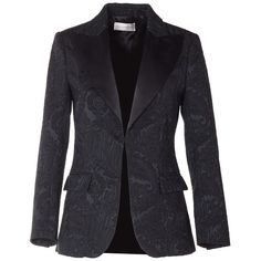 Faith Connexion  Brocade Blazer Jacket (26.570 RUB) ❤ liked on Polyvore featuring outerwear, jackets, nero, blazer jacket, shoulder pad jacket, collar jacket, brocade blazer and faith connexion jacket
