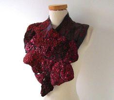 Felted collar  Purple Felted scarf Women felt collar dark red
