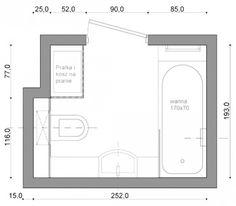 Aranżacje wnętrz. Wanna, prysznic i pralka w łazience o powierzchni 4,6 m kw… Floor Plans, Bathroom, Washroom, Full Bath, Bath, Bathrooms, Floor Plan Drawing, House Floor Plans