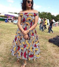 African print off the shoulder midi dress -Ankara Midi dress- dress-Ankara dress -African clothing - Latest African Fashion Dresses, African Dresses For Women, African Print Dresses, African Print Fashion, African Attire, African Wear, African Clothes, Ankara Fashion, Fashion Outfits