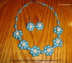 Blue and White Pearl Flower Necklace 16 inches | pinayjewelry - Jewelry on ArtFire