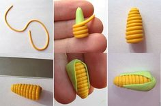Picture tutorial for making miniature corn. Interesting and different way. The original site has a number of things, just look to the right to click on the small photos.
