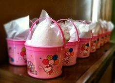 Party favors for my sister's baby shower. Hello Kitty buckets filled with pink lotion, nail polish, hand sanitizer, personalized packages of M with my nieces name printed on the candies and Luna bars. My niece will be named Luna :) Baby Shower Favors, Baby Shower Decorations, Hello Kitty Baby Shower, Luna Bars, Kitty Party, Decorating Ideas, Decor Ideas, Preparing For Baby, Hand Sanitizer