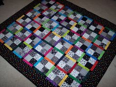 Baby Boy or Girl Quilt  Black and White by designsallaboutme