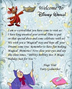 Welcome letter... Disney World... here I come!!!! :D yayyy!!!