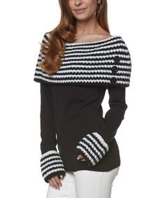 Look what I found on #zulily! Ecru & Black Button Off-Shoulder Sweater by Young Threads #zulilyfinds