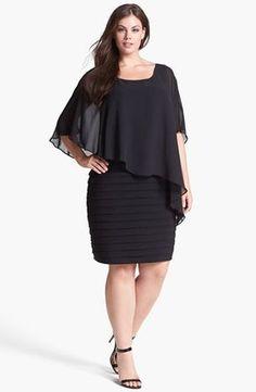 Adrianna Papell Chiffon Overlay Shutter plissado Vestido (Plus Size) | Nordstrom