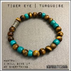 Like a tiger, one who wears the tiger eye has the patience to wait for the most opportune moment and has great focus and determination.......Bracelets womens mens I Beaded & Charm Yoga Mala I Meditation & Mantra I Spiritual   karma arm .  Turquoise Tiger Eye.