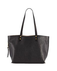 Dilan East-West Leather Tote Bag, Black