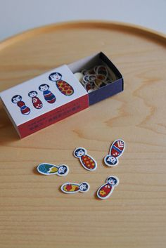 Stickers in a Matchbox - Kokeshi Doll