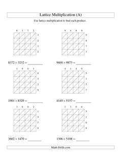 Multiplication Worksheet -- Lattice Multiplication -- Four-digit by Four-digit (A) Lattice Multiplication, Multiplication Worksheets, Free Math Worksheets, Teacher Worksheets, Math Exercises, Math Drills, Teacher Lesson Plans, Math Intervention, Homeschool Math