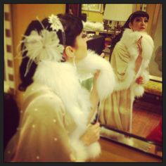 Vanille Bon Bon wearing Bruno Carlo white fur collar for the second burlesque show during #vfno in Mila