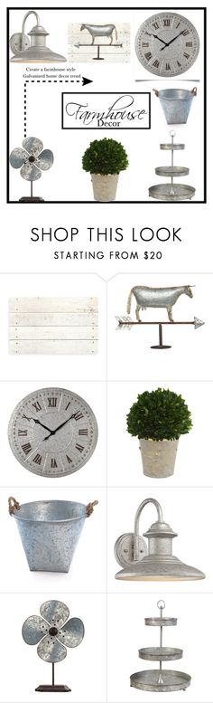 """""""Farmhouse Decor"""" by doragutierrez ❤ liked on Polyvore featuring interior, interiors, interior design, home, home decor, interior decorating, Bungalow Flooring, Universal Lighting and Decor and Home Essentials"""