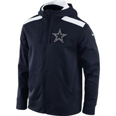 Men's Dallas Cowboys Navy Blue Shield Nailhead Full Zip Performance Hoodie