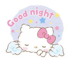 Hello Kitty shared by GLen =^● 。●^= on We Heart It Hello Kitty Cartoon, Hello Kitty My Melody, Hello Kitty Baby, Hello Kitty Images, Sanrio Hello Kitty, Good Night Angel, Good Night Gif, Good Night Messages, Good Night Sweet Dreams