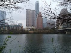View across the river of a wet downtown Austin during SXSW