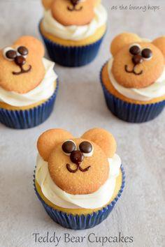 Paddington Inspired Cream Cheese and Orange Marmalade Teddy Bear Cupcakes - As The Bunny Hops® Teddy Bear Birthday Cake, Teddy Bear Cupcakes, Animal Cupcakes, Cupcake Recipes, Cupcake Cakes, Teddy Bear Day, Teddy Bears, Picnic Birthday, Teddy Bear Baby Shower
