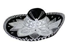 SOMBRERO CHARRO BLACK   WHITE 🗣 VENTA DE TRAJES TIPICOS MEXICANOS  ARTESANAL MEXICANA 💥 ✈ ENVIOS 577d2cabb46