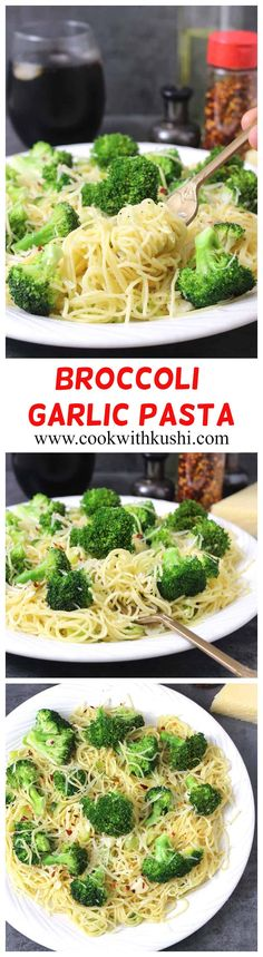 Broccoli Garlic Pasta is super easy to make flavorful and delicious recipe prepared in 30 minutes using basic ingredients from your kitchen. My whole family loves this pasta including my kid Angel Hair Pasta Recipes, Healthy Pasta Recipes, Healthy Pastas, Broccoli Recipes, Vegetarian Recipes, Carrot Recipes, Cabbage Recipes, Healthy Food, Pasta Dishes